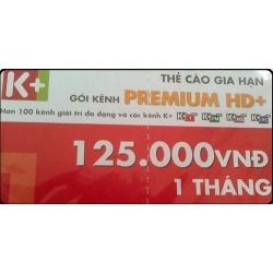 Thẻ Cào K+ Gói Premium (SD và HD 01 Tháng)