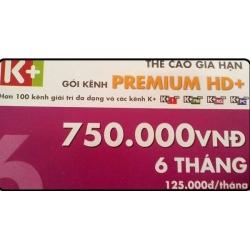 Thẻ Cào K+ Gói Premium (SD và HD 06 Tháng)